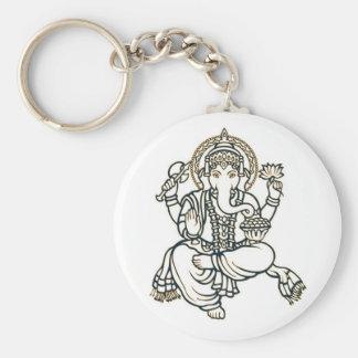 Ganesha Hindu Deity God Basic Round Button Keychain