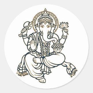 Ganesha Hindu Deity God Round Sticker