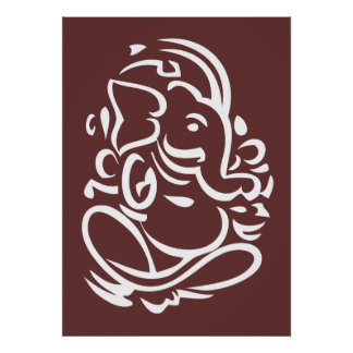Ganesha - Hindu God Sign Print