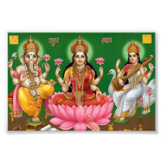 """Ganesha, Lakshmi, & Saraswati Print (6"""" x 4"""") Photo"""