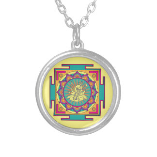 Ganesha Mandala Silver Plated Necklace