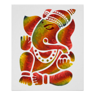 Ganesha Multicolor Painting Poster