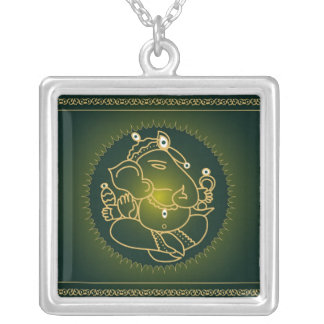Ganesha on green - Necklace