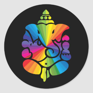Ganesha Rainbow Sign Classic Round Sticker