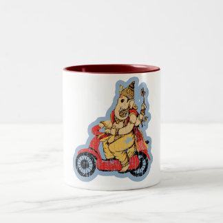 Ganesha Riding a Scooter Two-Tone Mug