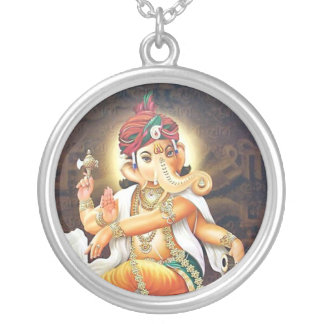 ganesha silver plated necklace