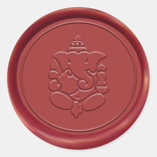 Ganesha Wax Seal Sticker