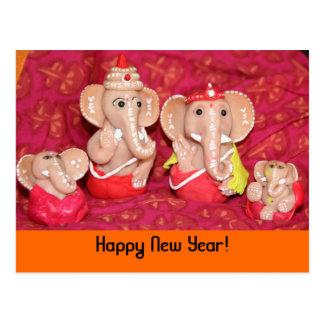 Ganeshas, Happy New Year! Postcard