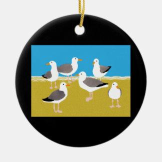 Gang of Seagulls at the Ocean Edge Ceramic Ornament