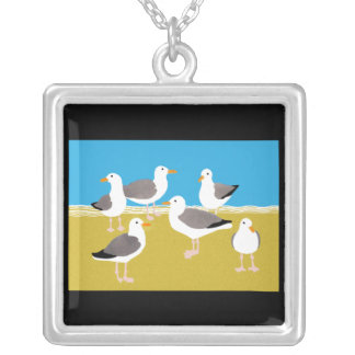 Gang of Seagulls at the Ocean Edge Silver Plated Necklace