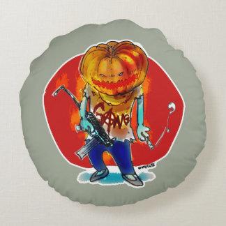 gang squad member pumpkin head round pillow