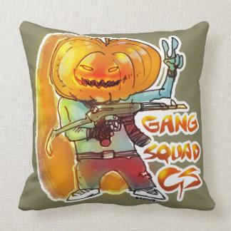 gang squad member pumpkin head twin face throw pillow