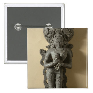 Ganga, goddess who personifies the sacred River Ga 2 Inch Square Button