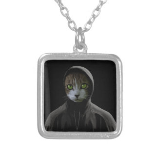 Gangsta cat silver plated necklace