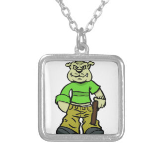 Gangsta dog silver plated necklace