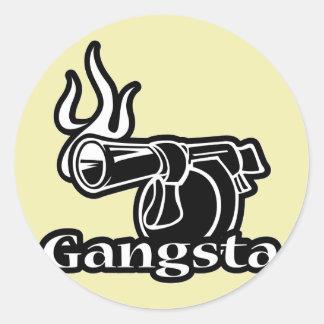 Gangsta - Gangster Revolver Gun Pistol Round Sticker