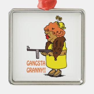 Gangsta Granny Silver-Colored Square Ornament