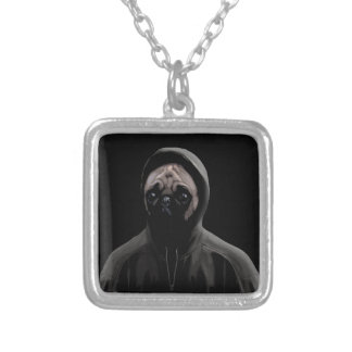 Gangsta pug silver plated necklace