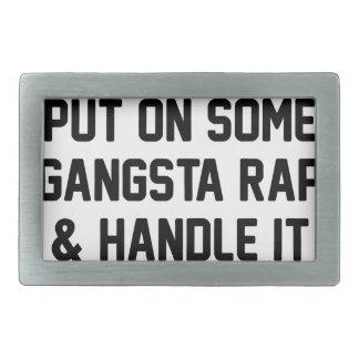 Gangsta Rap & Handle It Rectangular Belt Buckle