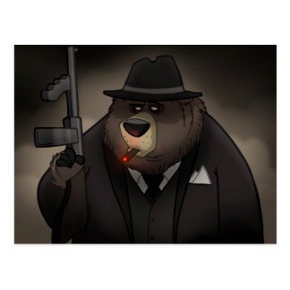 Gangster Bear Postcard
