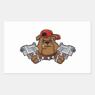 gangster bulldog  with pistols