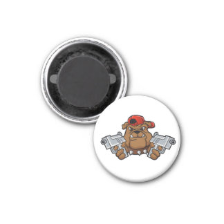 gangster bulldog  with pistols 1 inch round magnet