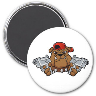 gangster bulldog  with pistols 3 inch round magnet