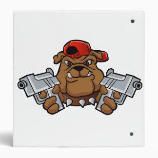 gangster bulldog  with pistols 3 ring binder