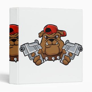 gangster bulldog  with pistols 3 ring binders