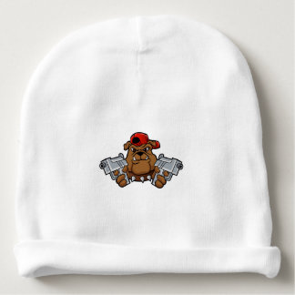 gangster bulldog  with pistols baby beanie