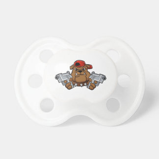gangster bulldog  with pistols baby pacifiers