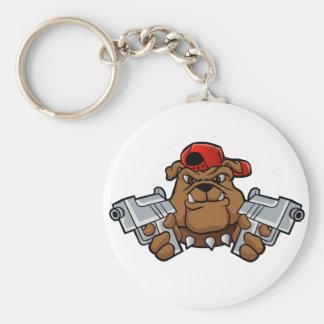 gangster bulldog  with pistols basic round button keychain