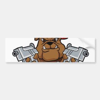 gangster bulldog  with pistols bumper sticker