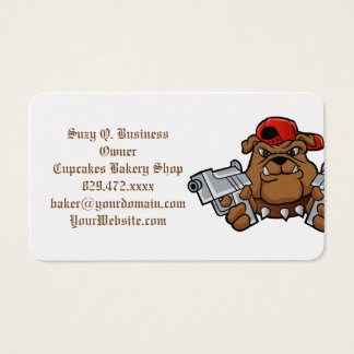 gangster bulldog  with pistols business card