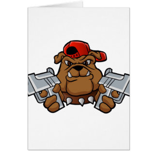 gangster bulldog  with pistols card