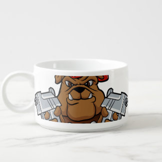 gangster bulldog  with pistols chili bowl