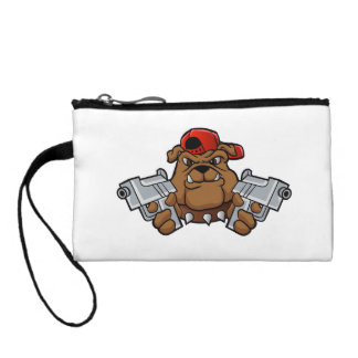 gangster bulldog  with pistols coin purses