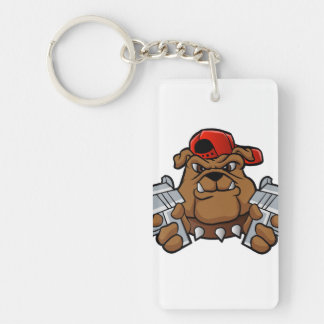 gangster bulldog  with pistols Double-Sided rectangular acrylic keychain