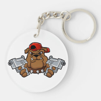 gangster bulldog  with pistols Double-Sided round acrylic keychain