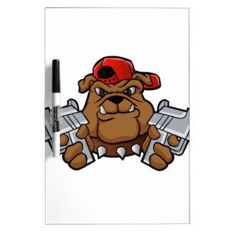 gangster bulldog  with pistols dry erase board
