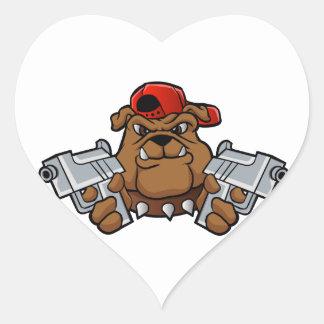 gangster bulldog  with pistols heart sticker