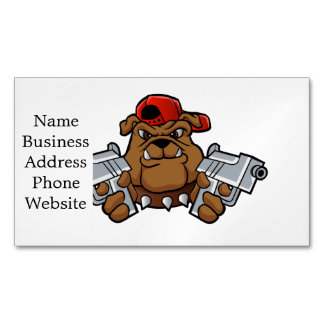 gangster bulldog  with pistols magnetic business card