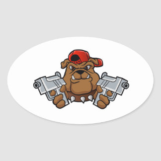 gangster bulldog  with pistols oval sticker