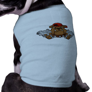 gangster bulldog  with pistols pet tee