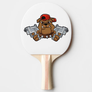 gangster bulldog  with pistols ping pong paddle