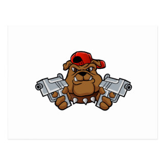 gangster bulldog  with pistols postcard