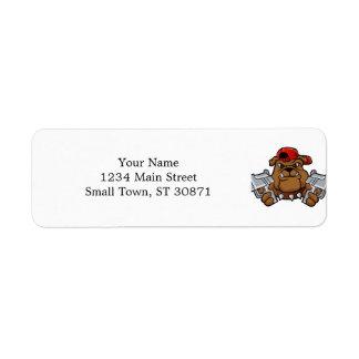 gangster bulldog  with pistols return address label