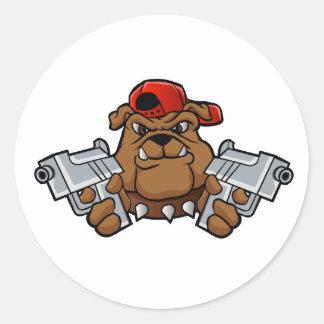 gangster bulldog  with pistols round sticker