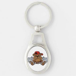 gangster bulldog  with pistols Silver-Colored oval keychain
