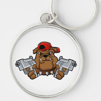 gangster bulldog  with pistols Silver-Colored round keychain